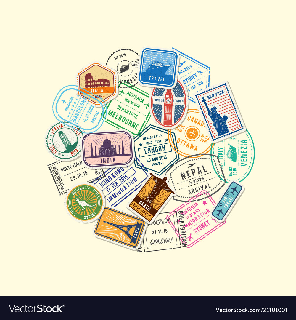 World immigration and post stamp marks vector image