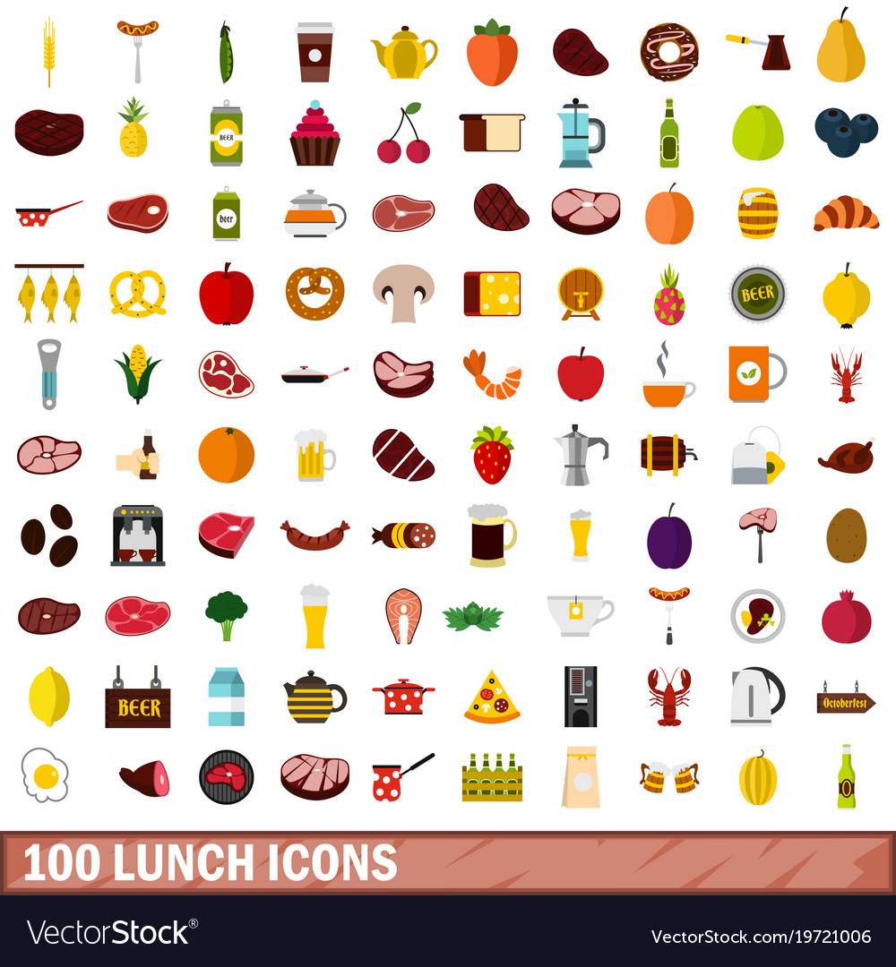 100 lunch icons set flat style