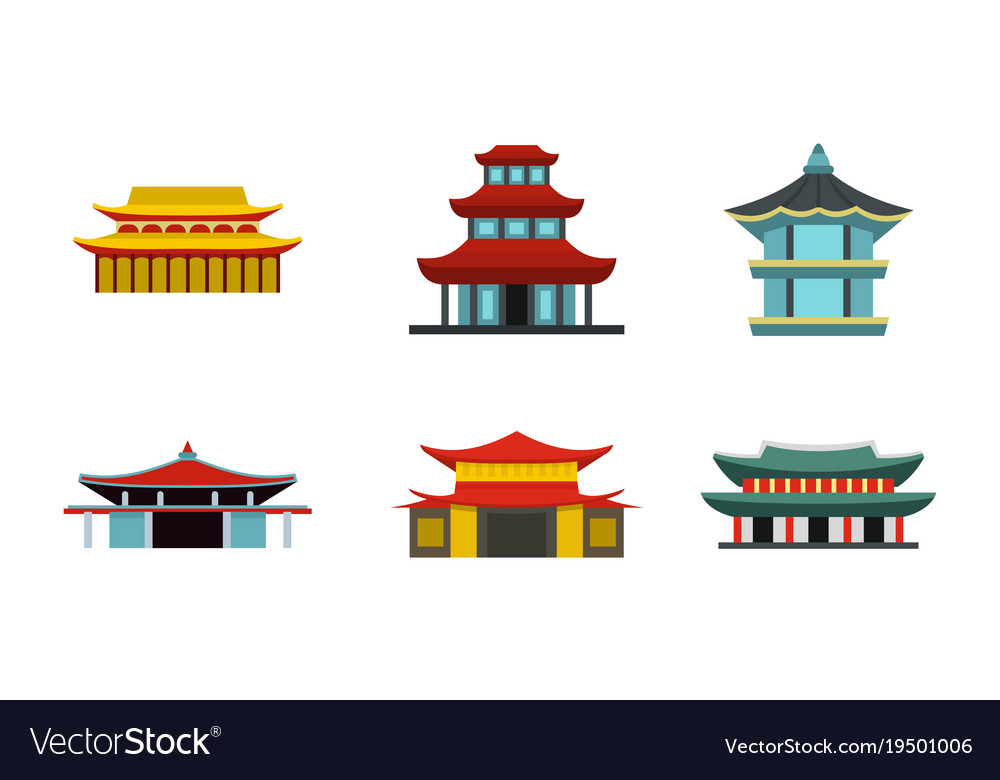 Asian castle icon set flat style
