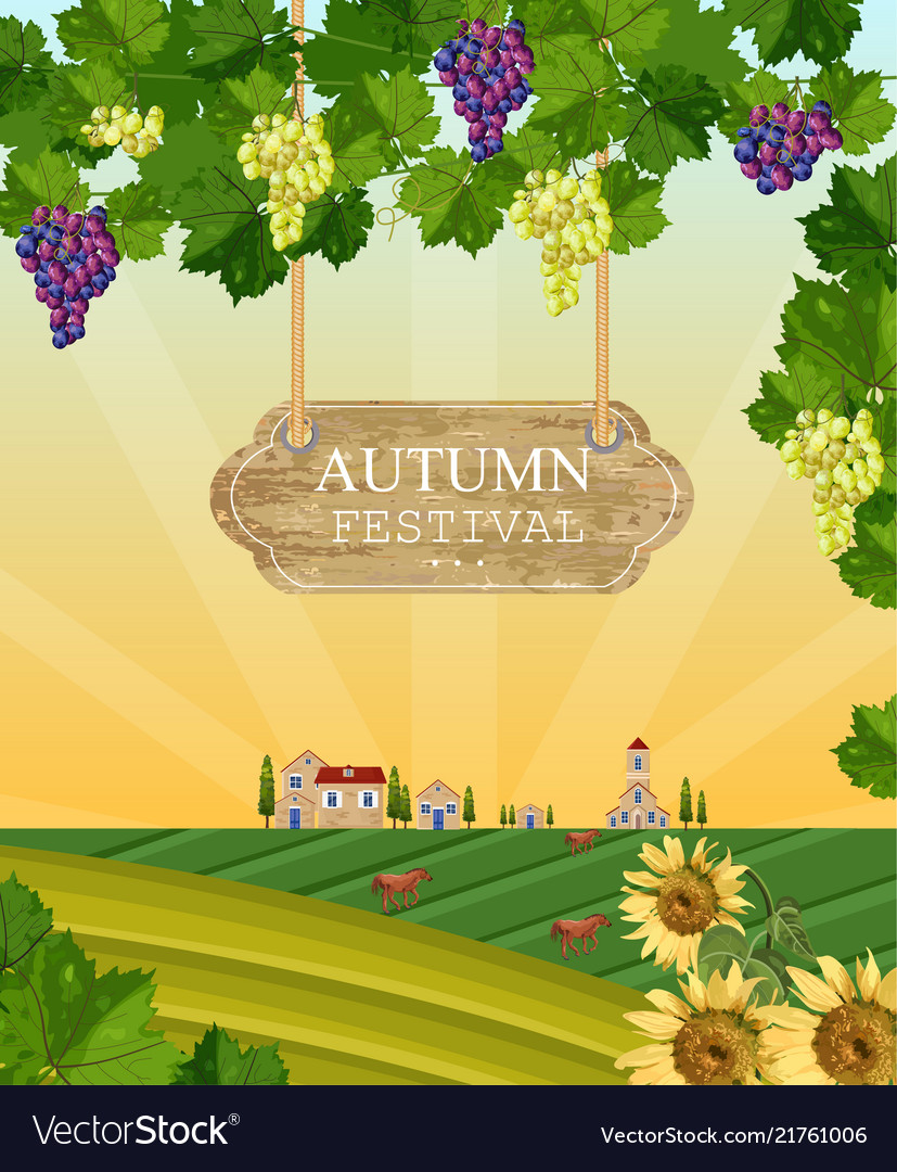 Autumn festival wood sign wine grapes and