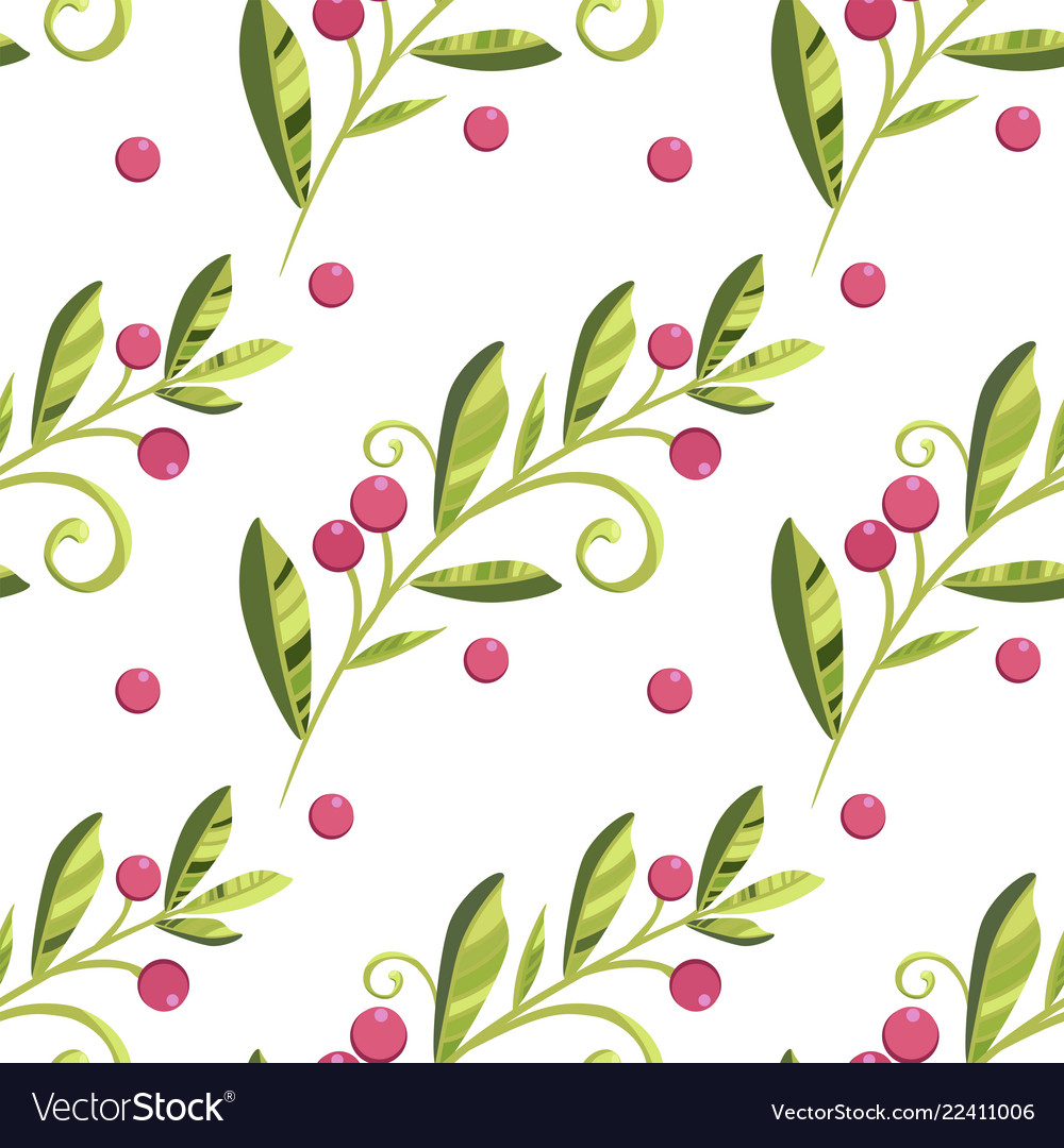 Branch of cranberries with berries pattern