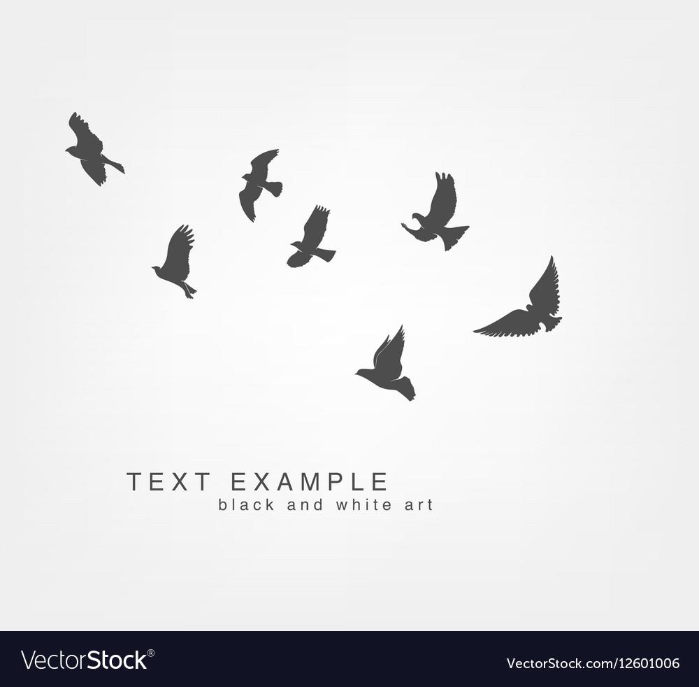 Dark figures flying birds vector image