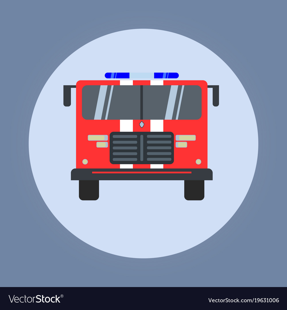 Fire engine flat icon isolated red