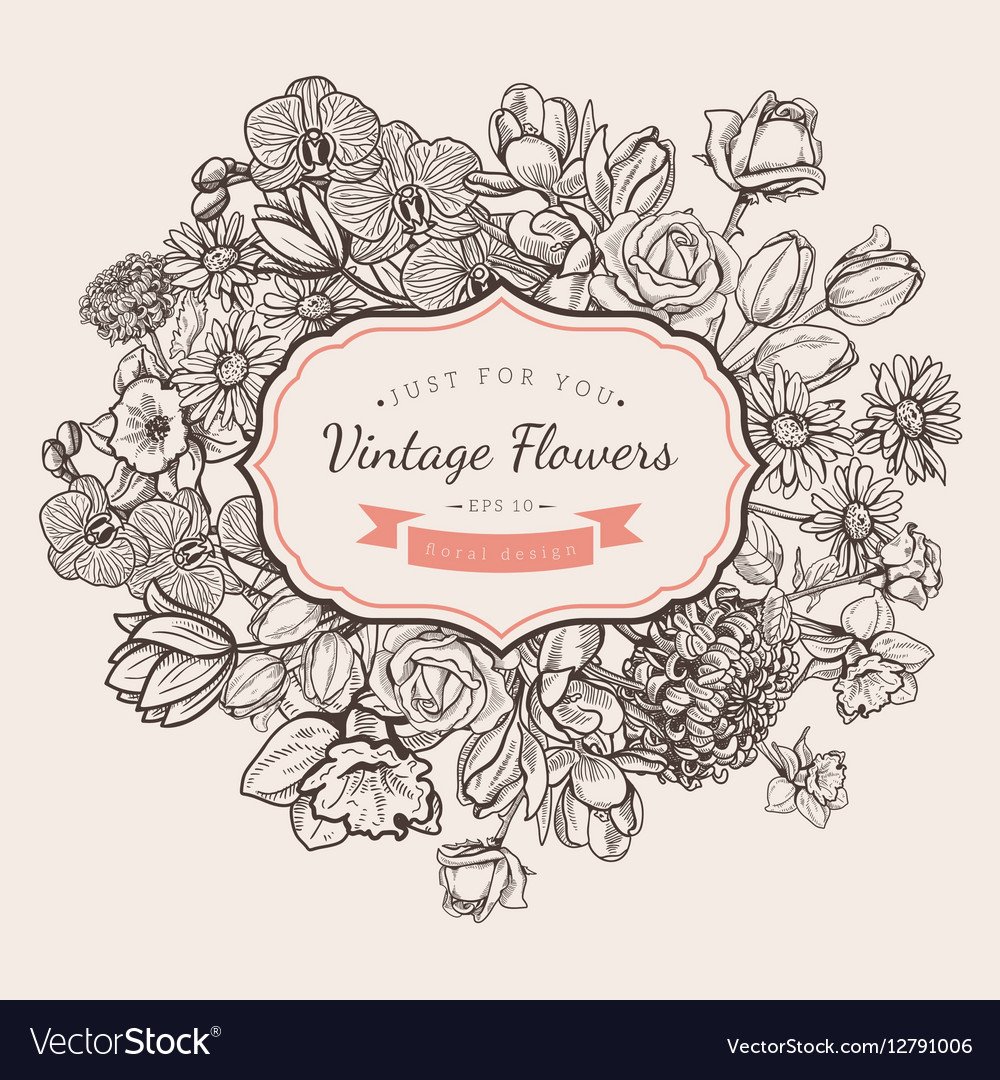 Flower vintage styled sketch background