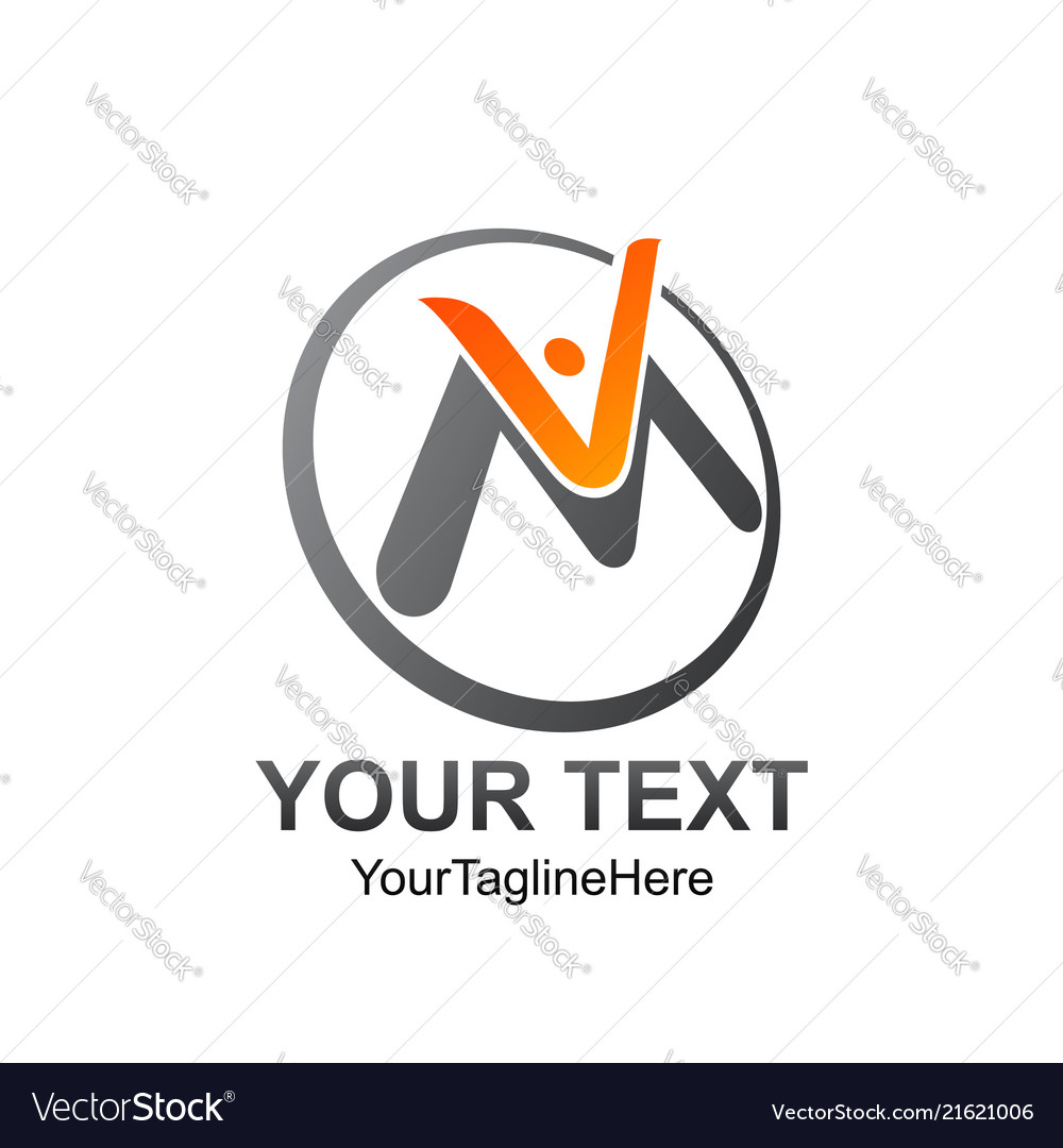 Initial letter vm logo template colored orange