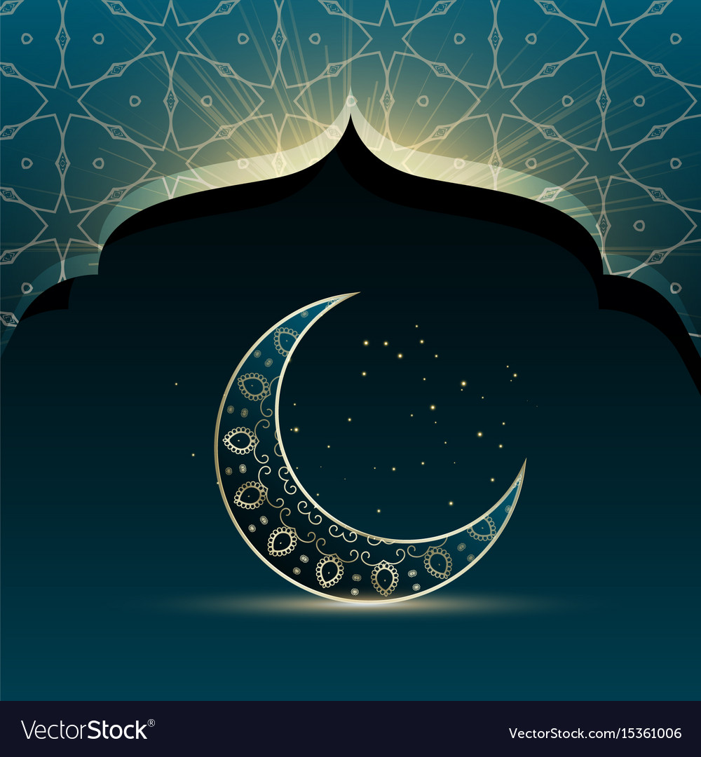 Mosque door with creative crescent moon for eid