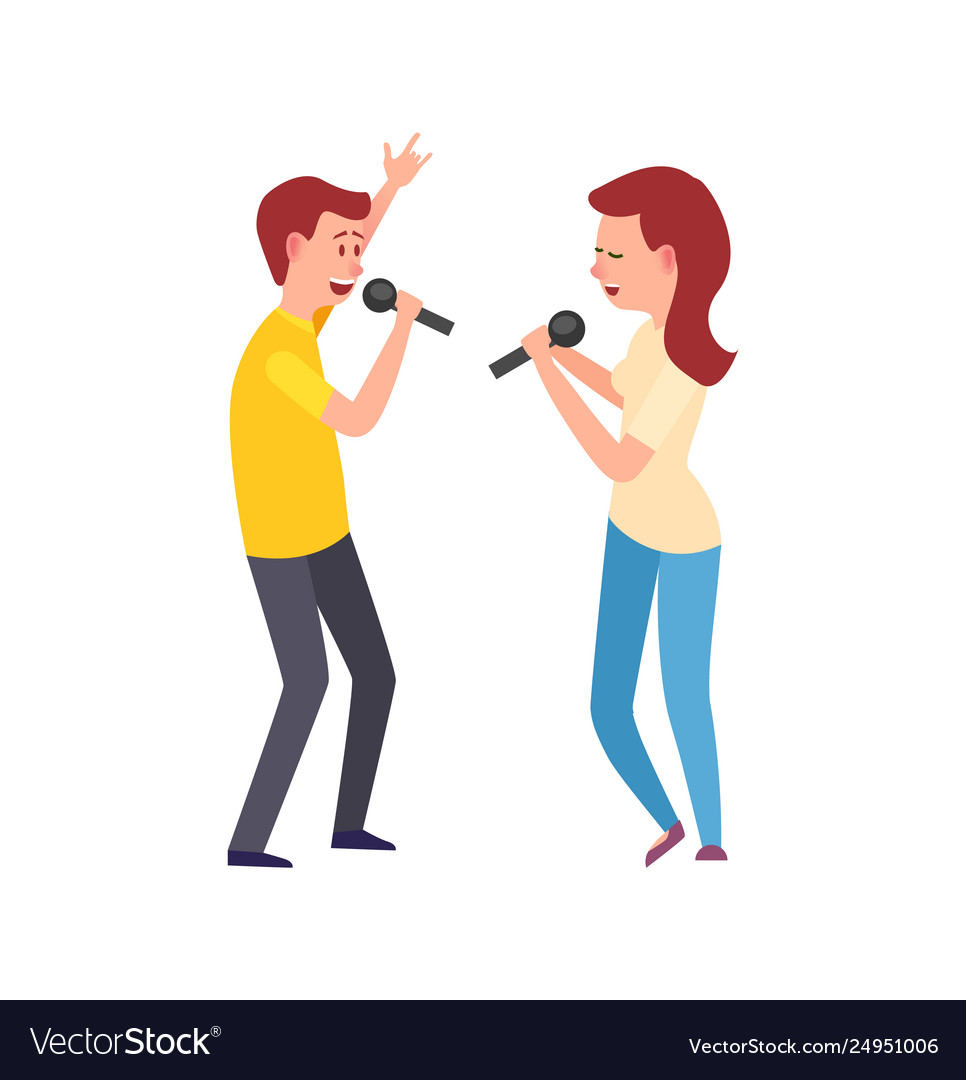 Music performers singing characters man and woman
