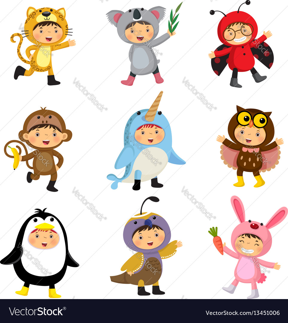 Set of cute kids wearing animal costumes