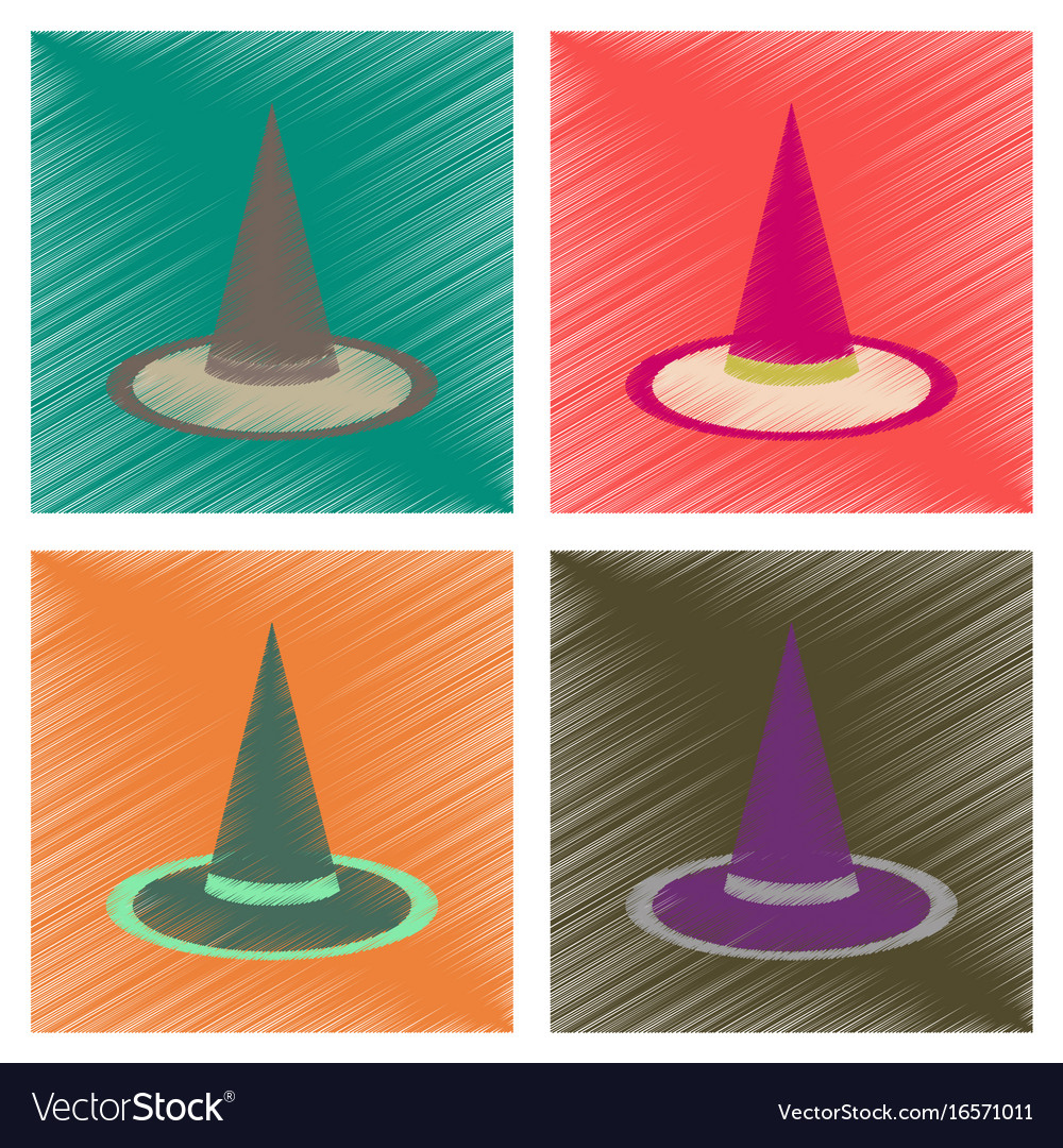 Assembly flat shading style icons halloween witch