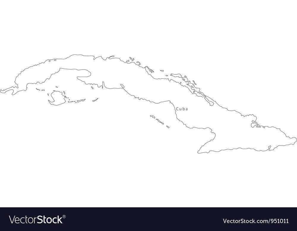 Black White Cuba Outline Map Royalty Free Vector Image