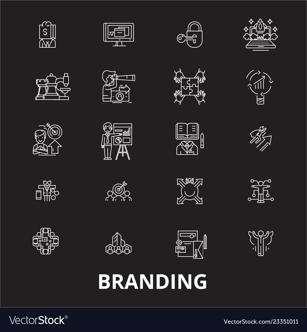 Branding editable line icons set on black