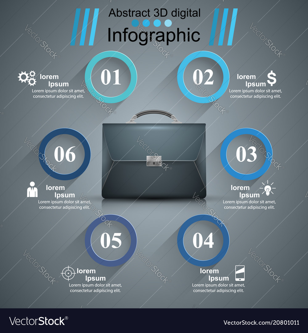 Briefcase office - business infographic