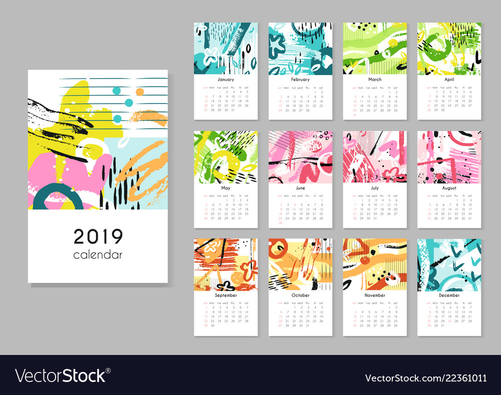 Calendar 2019 seasons collage abstract painting