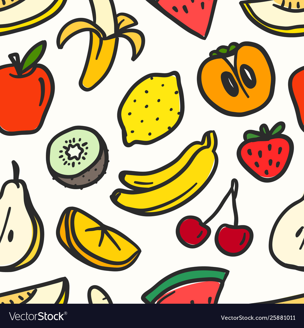 Color summer fruits seamless pattern pattern
