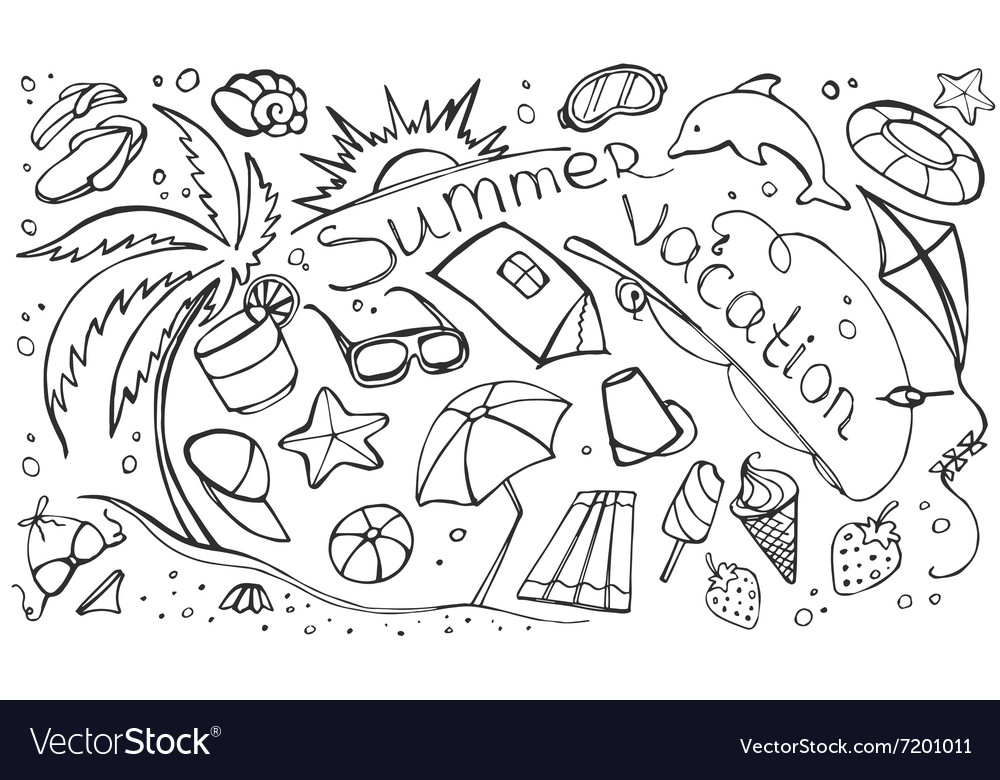 Doodle set of summer vacation