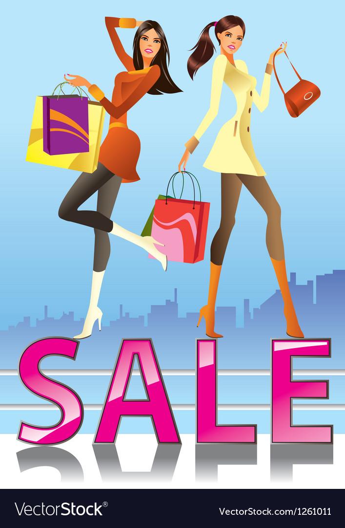 Fashion girls in sale campaign