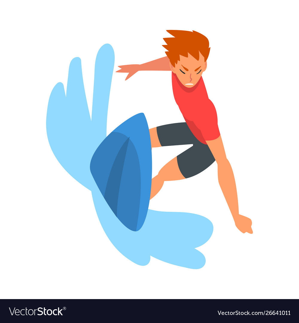 Guy riding on ocean wave surfer character in
