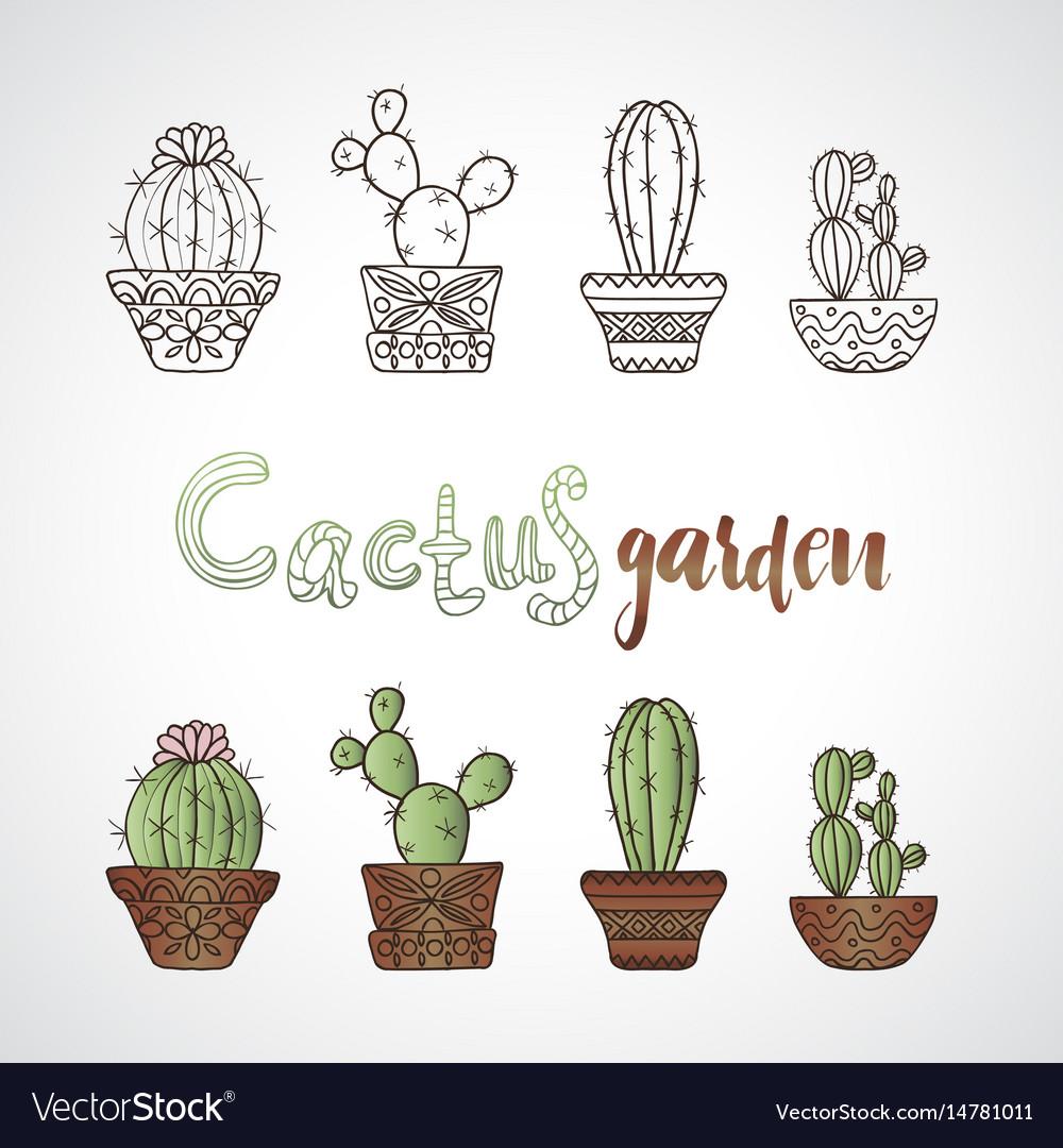 Hand drawn sketch cactus set