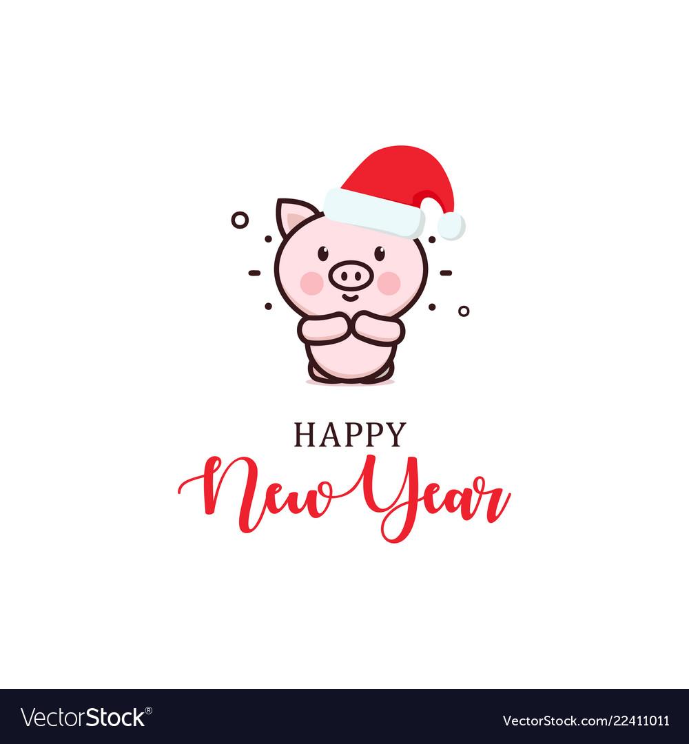 Happy new year minimal greeting card cute