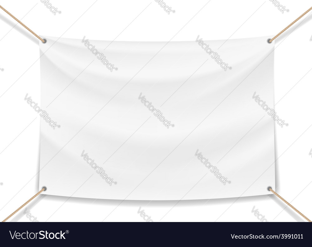 Image of a white banner with ropes