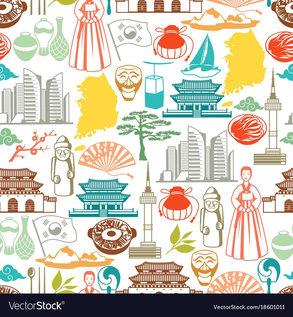 Korea seamless pattern korean traditional symbols vector image
