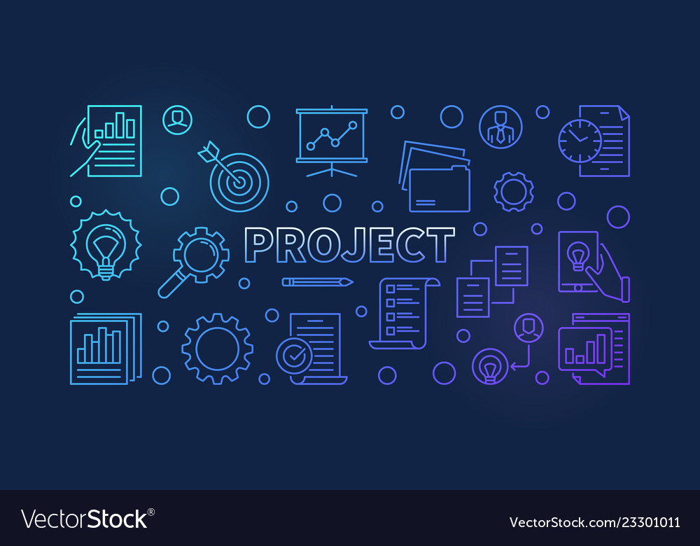 Project horizontal colored outline banner