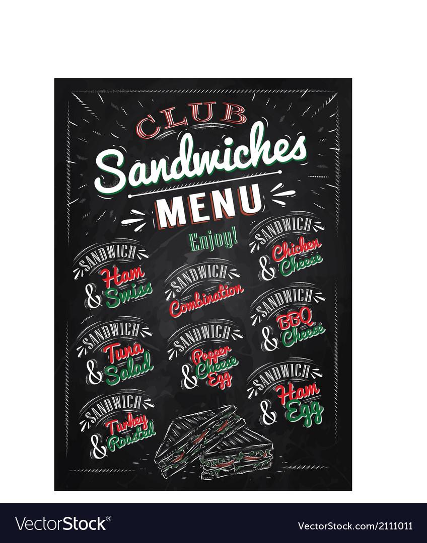 Sandwiches menu chalk color vector image