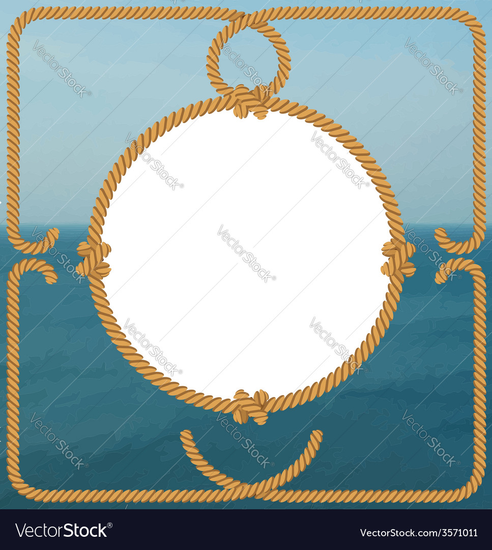 Sea frame with rope vector image