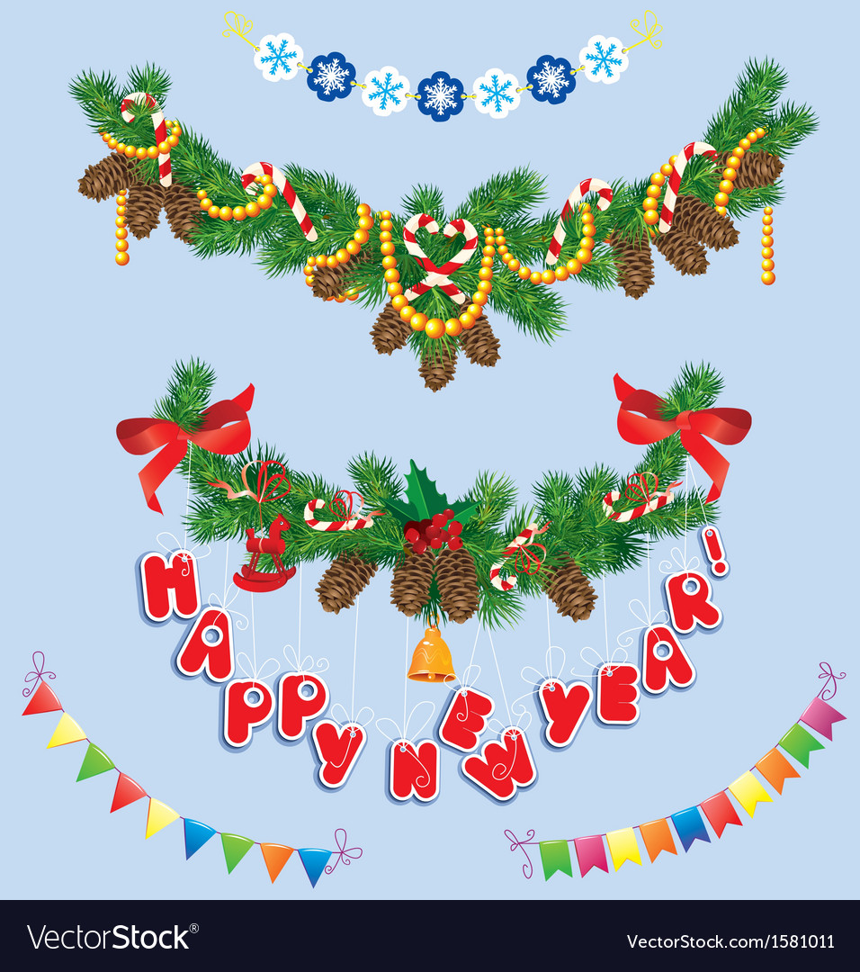 Set of Christmas and New Year garlands