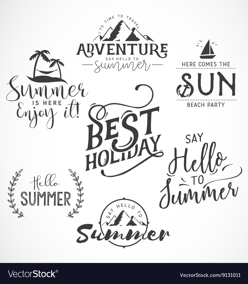 Summer Calligraphic Designs in Vintage Style