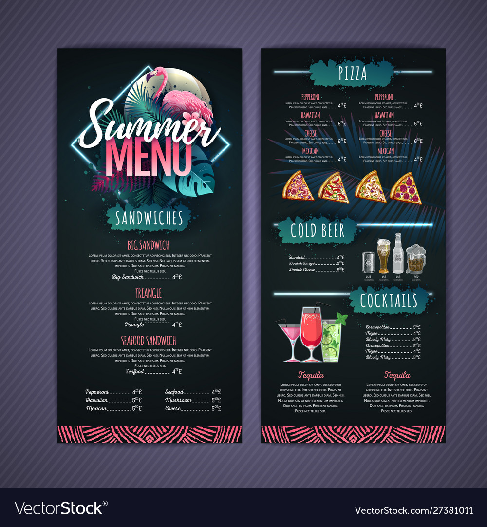 Summer menu design with flamingo and tropic leaves