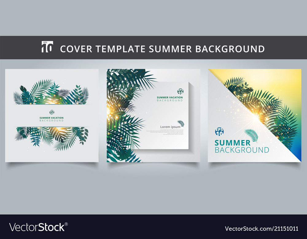 Template brochure cover summer tropical with