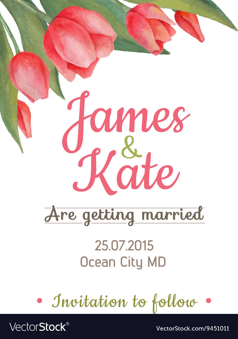 Watercolor wedding invitation card with