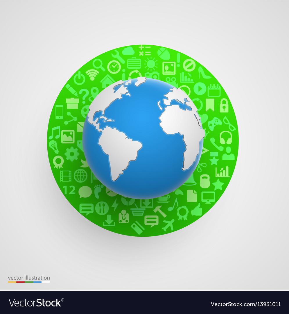 World globe with app icons