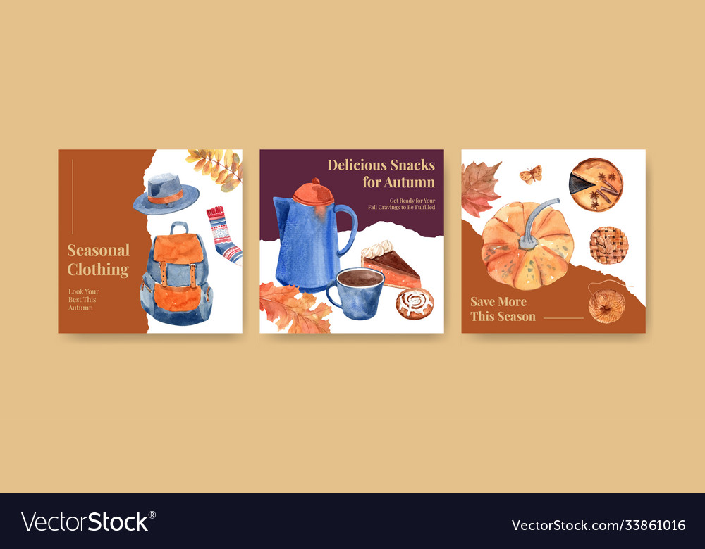 Ads template with autumn daily concept design