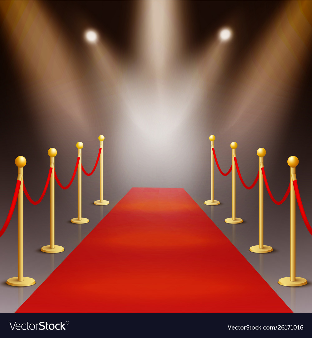 Award Ceremony Red Carpet Illuminated By Vector Image