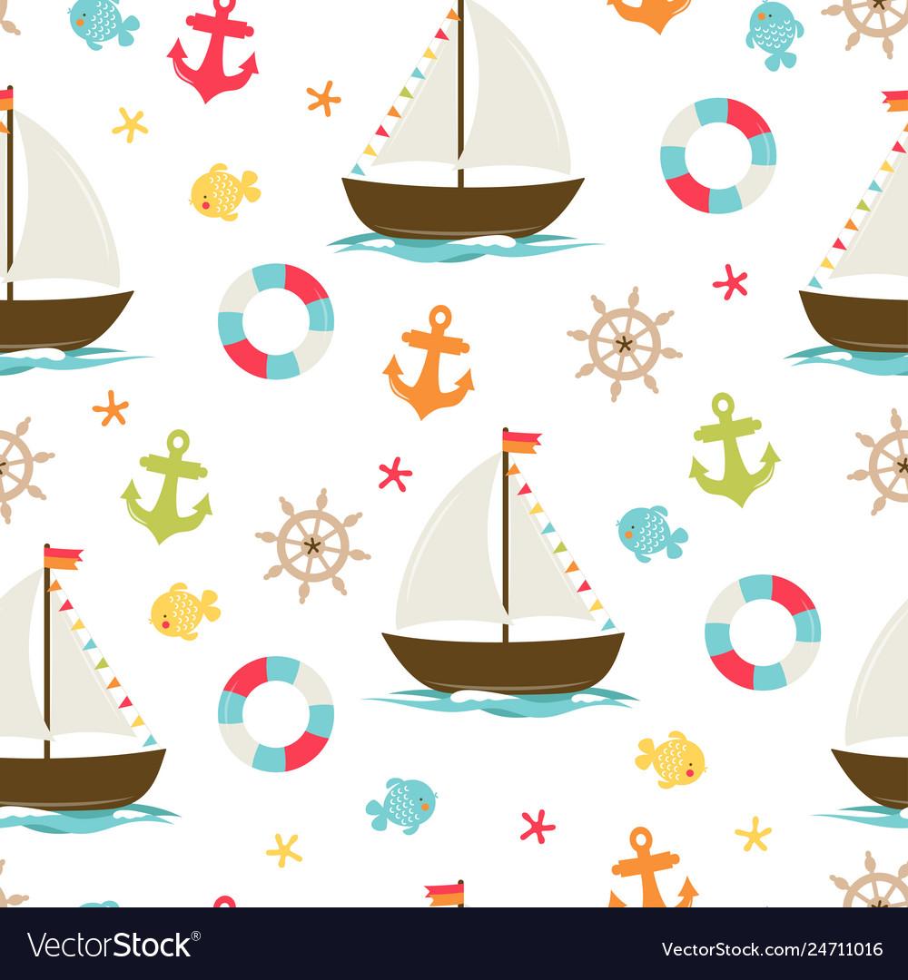 Boat cute seamless pattern