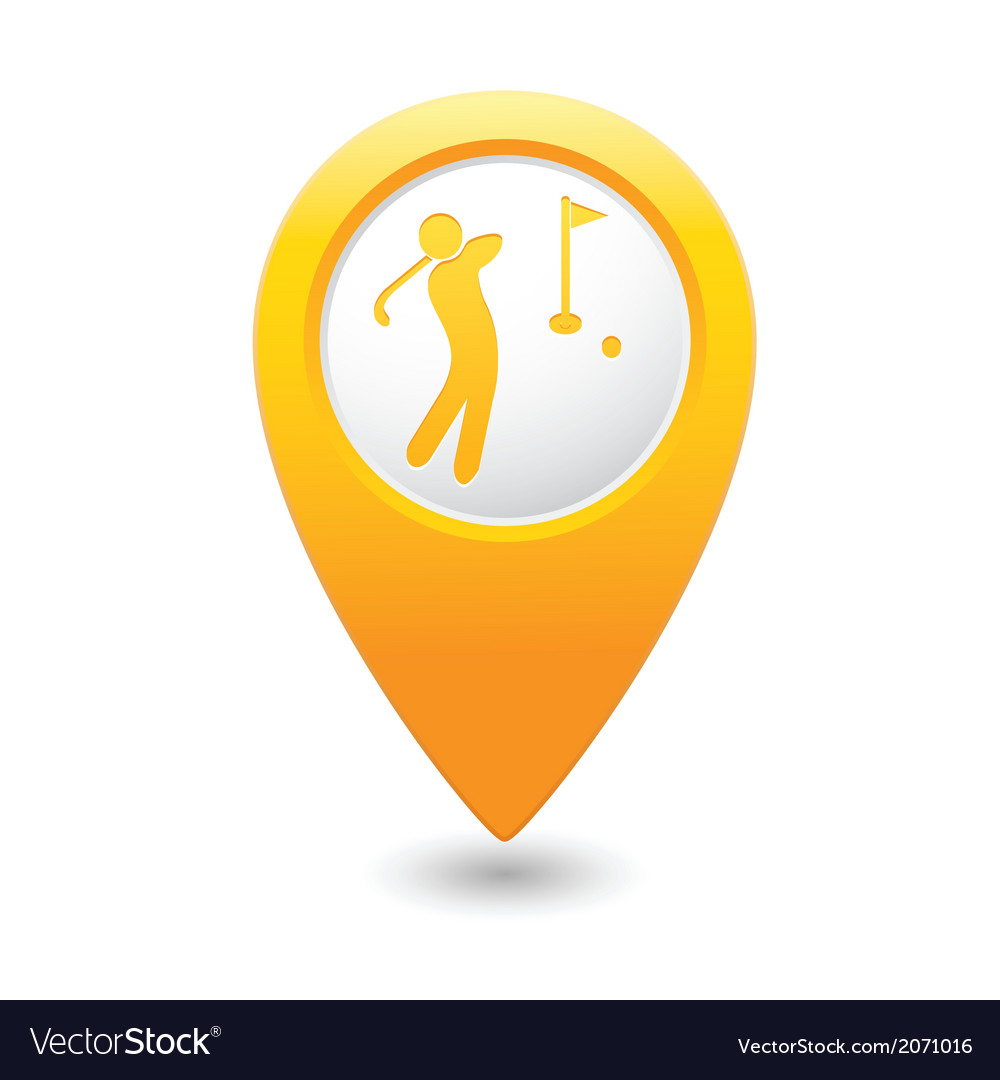 Golf icon yellow map pointer