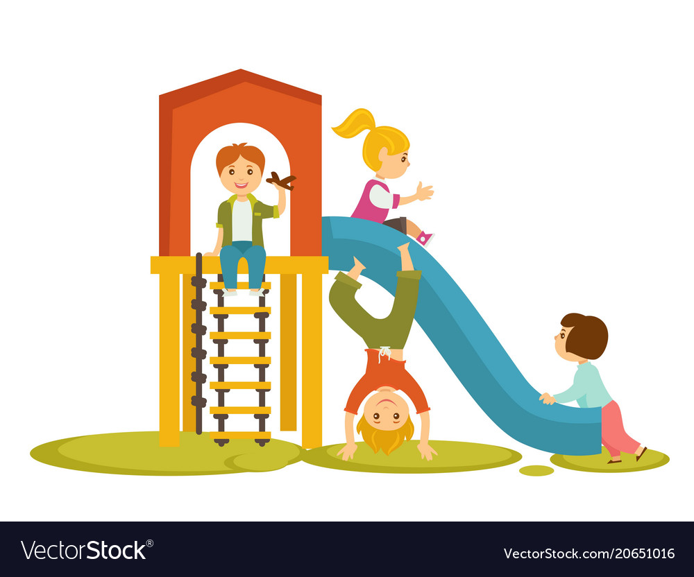 kids children playing on playground cartoon vector image