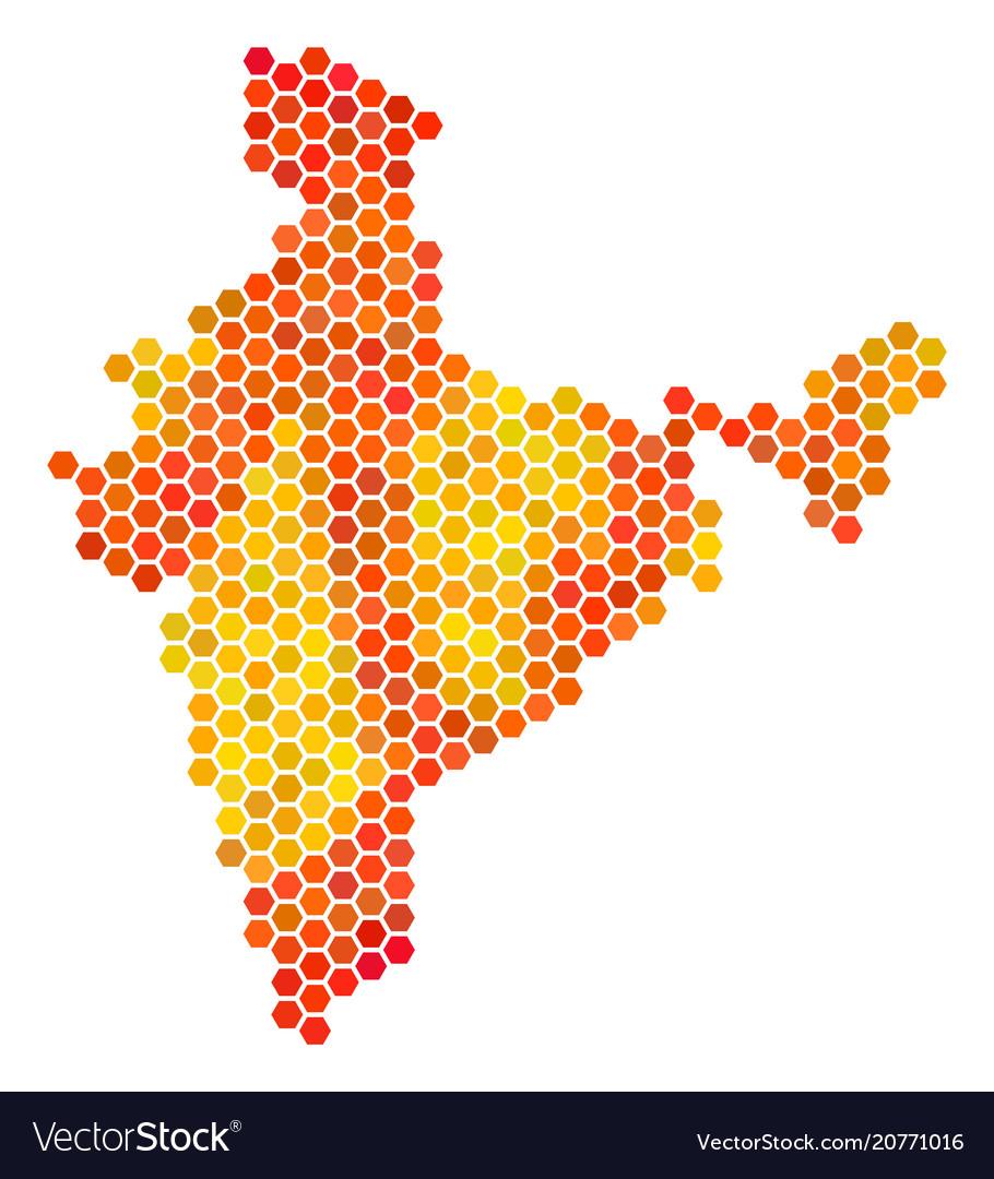 Orange hexagon india map