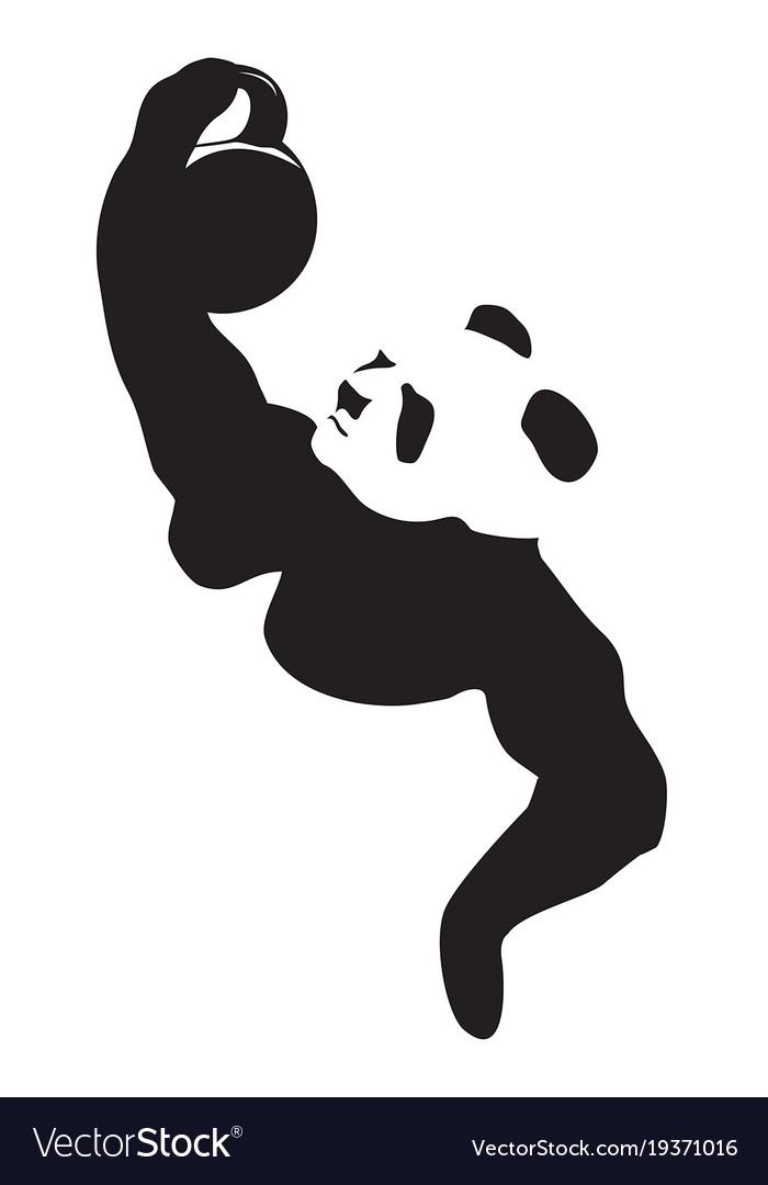 Panda Lifting Weight Royalty Free Vector Image