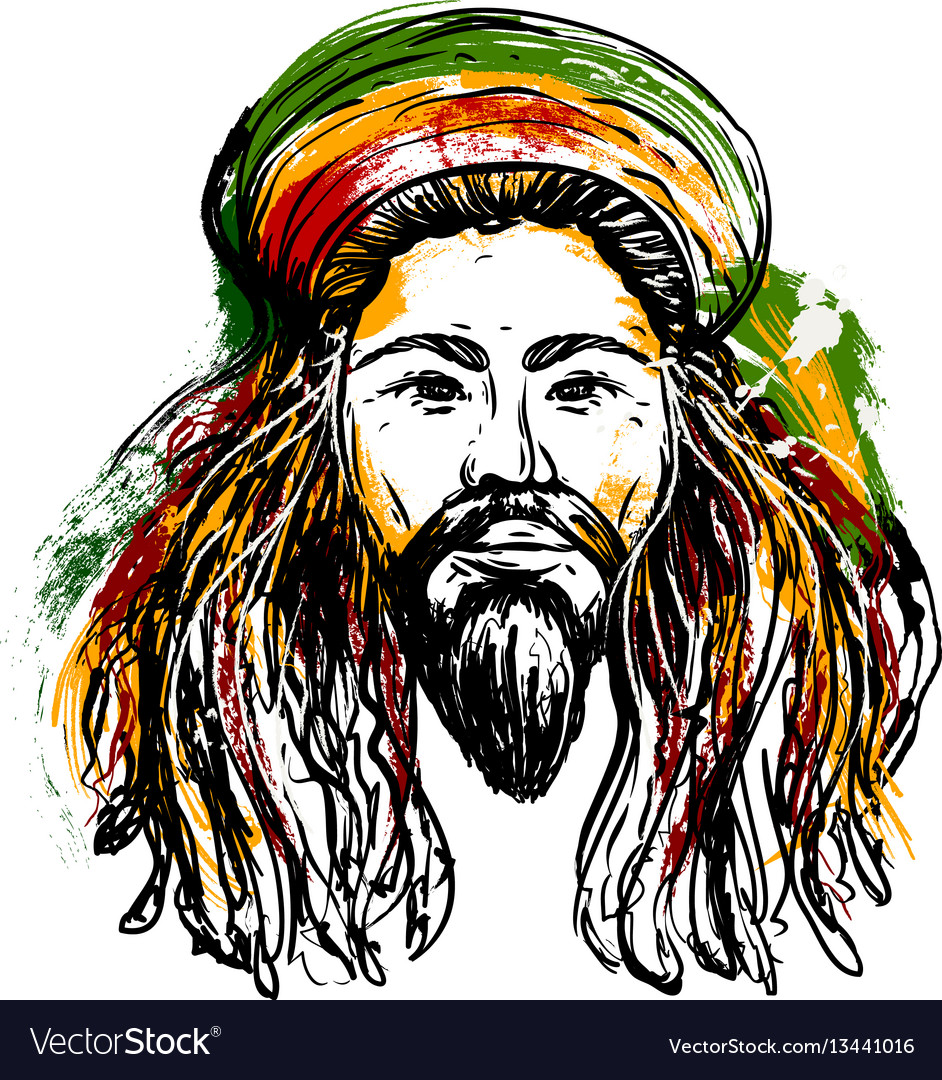 Rastafarian 2: Portrait Of Rastaman Jamaica Theme Royalty Free Vector Image