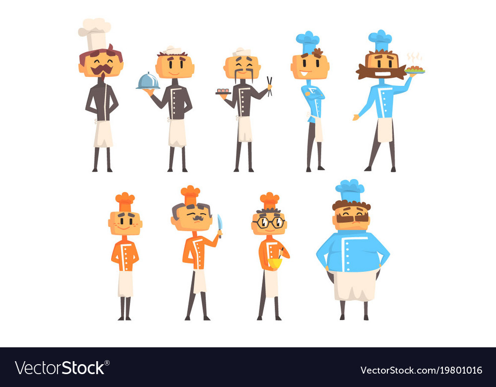 Restaurant chef cooks set of man cartoon vector image