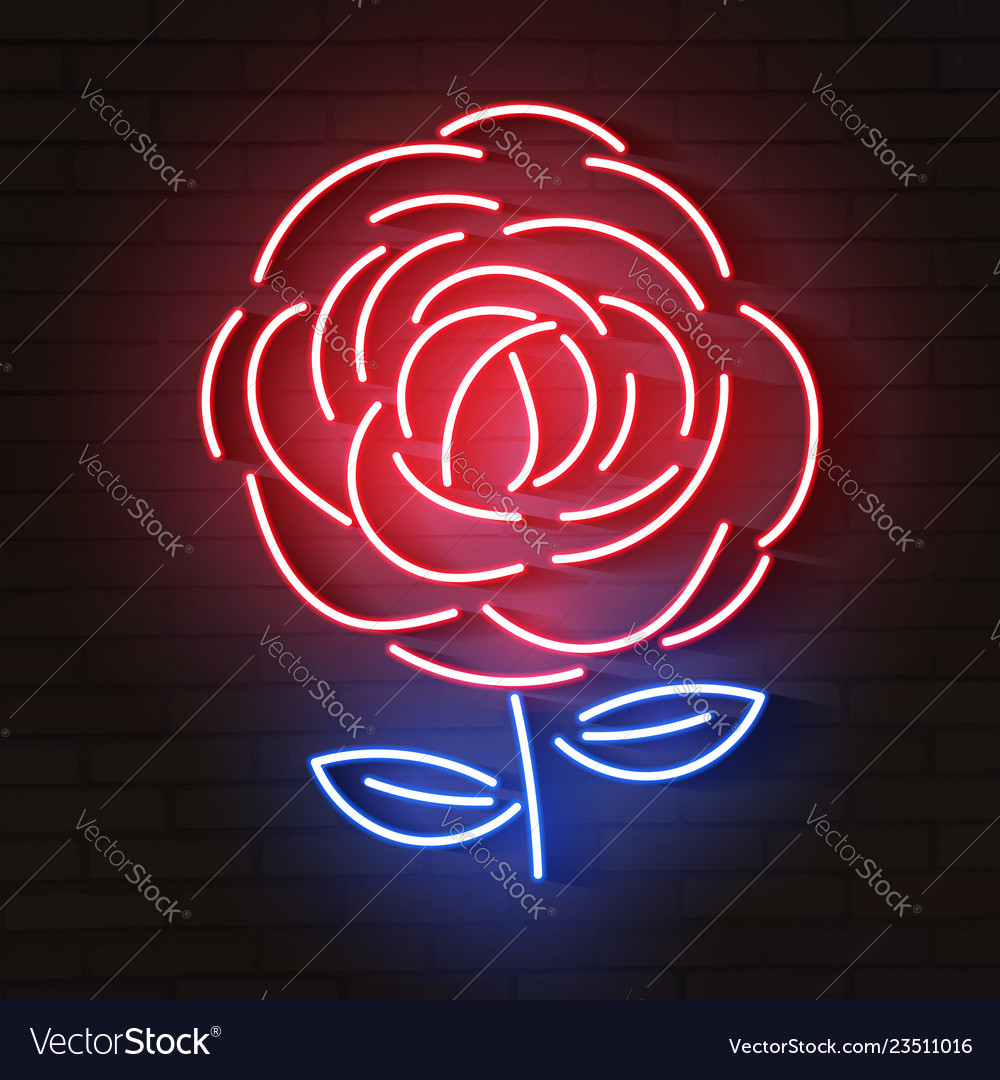 Glowing Rose Neon Vector Images 62