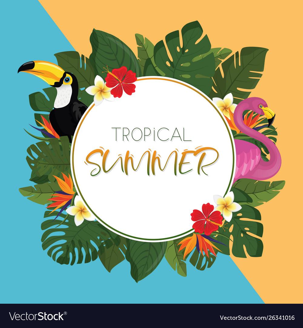 Tropical summer round frame design