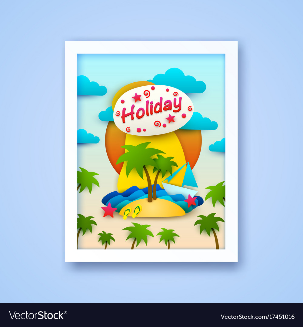 Vacation on the island postcard