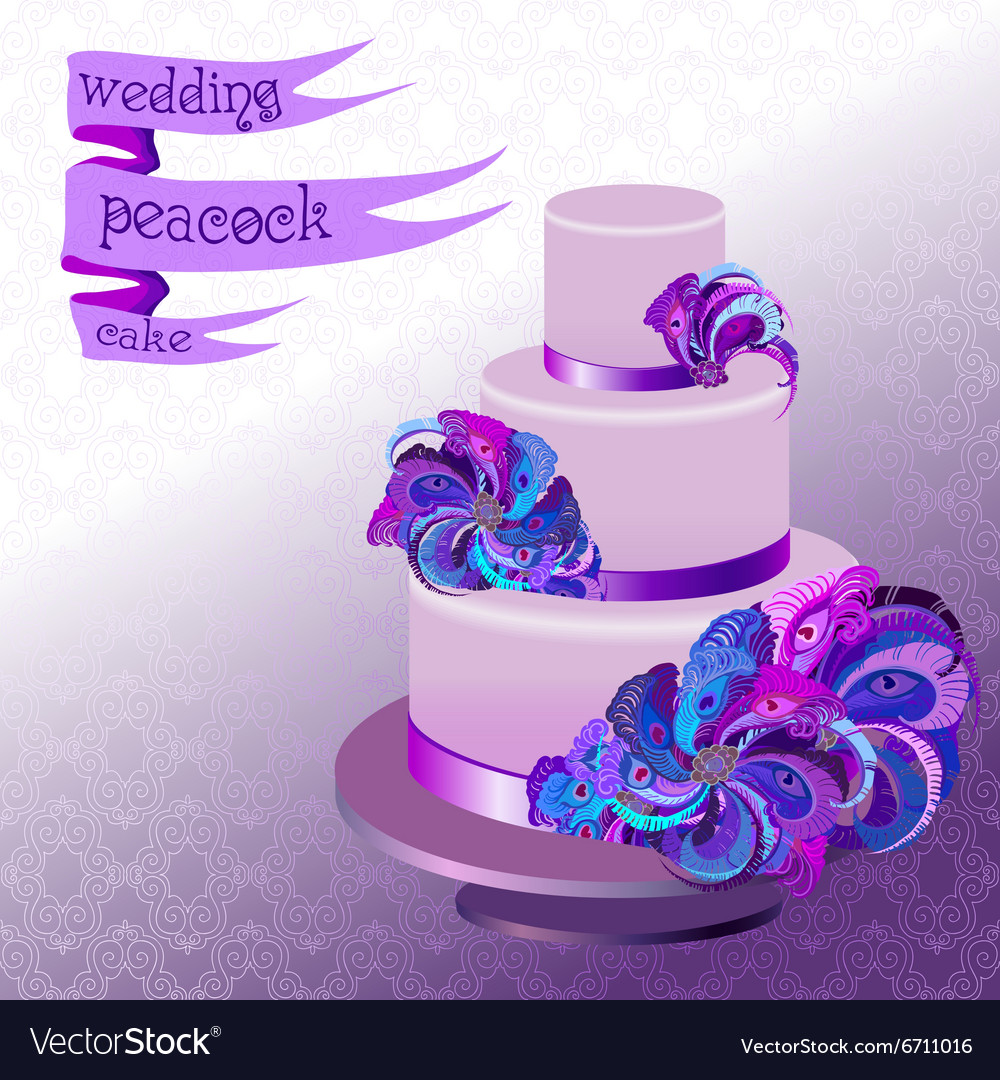 Admirable Wedding Cake With Peacock Feathers Violet Purple Vector Image Personalised Birthday Cards Veneteletsinfo