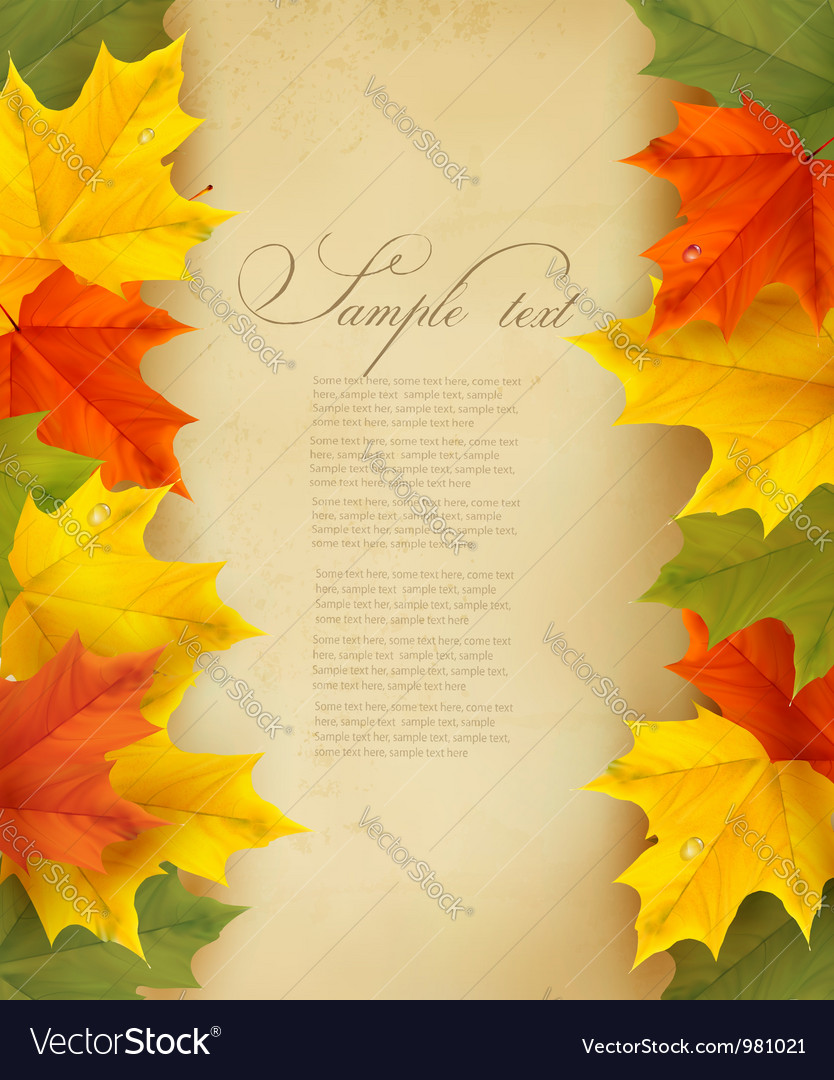 Autumn background with colorful leaves and old
