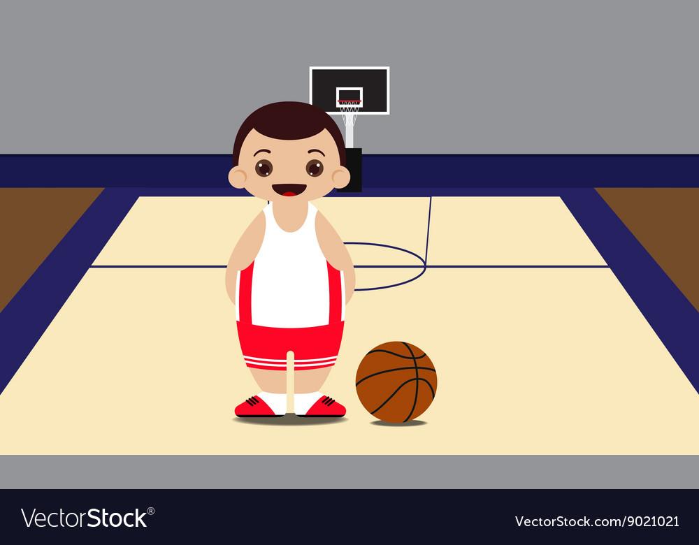 Basketball court basketball player vector image
