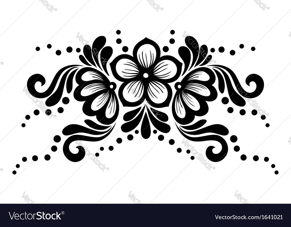 Black and white lace flowers and leaves isolated vector image mightylinksfo